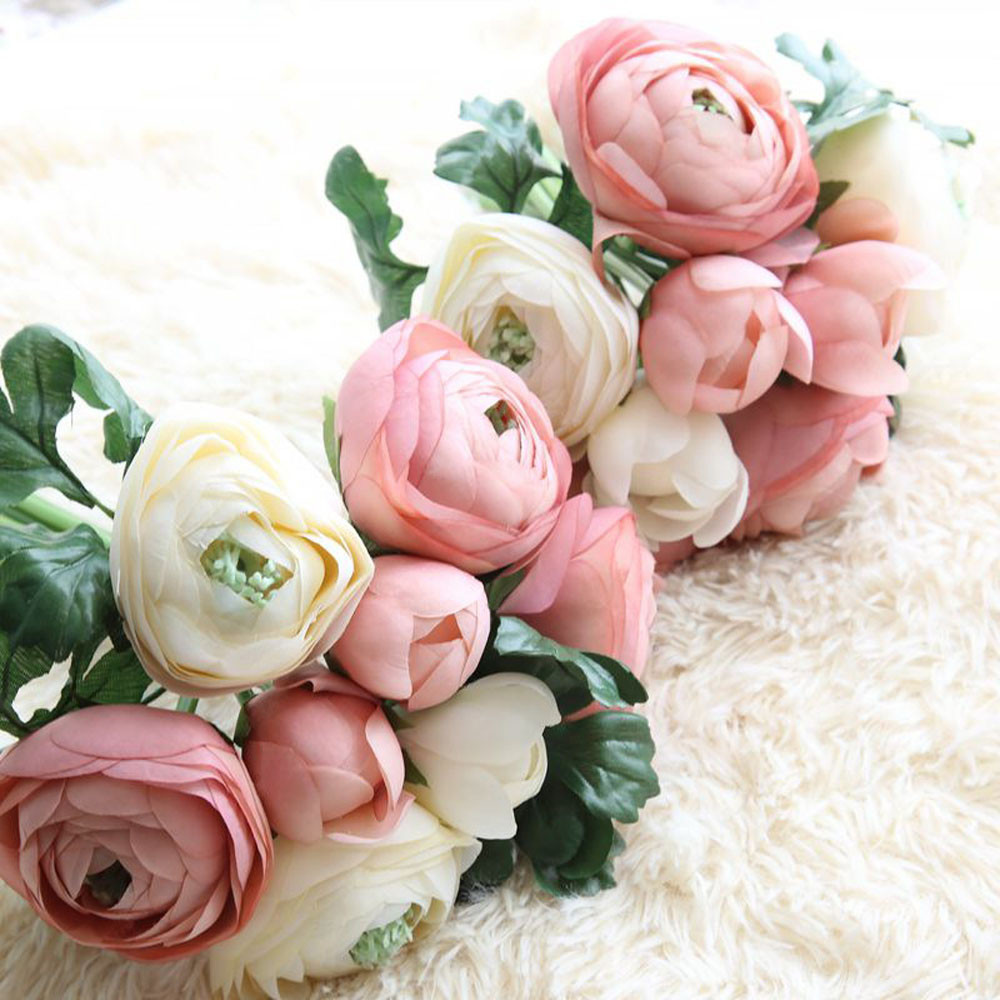 Wedding Decoration Artificial Silk Fake Flowers Eternal Rose Fabric Plastic  Floral Wedding Bouquet Bridal Hydrangea Decor