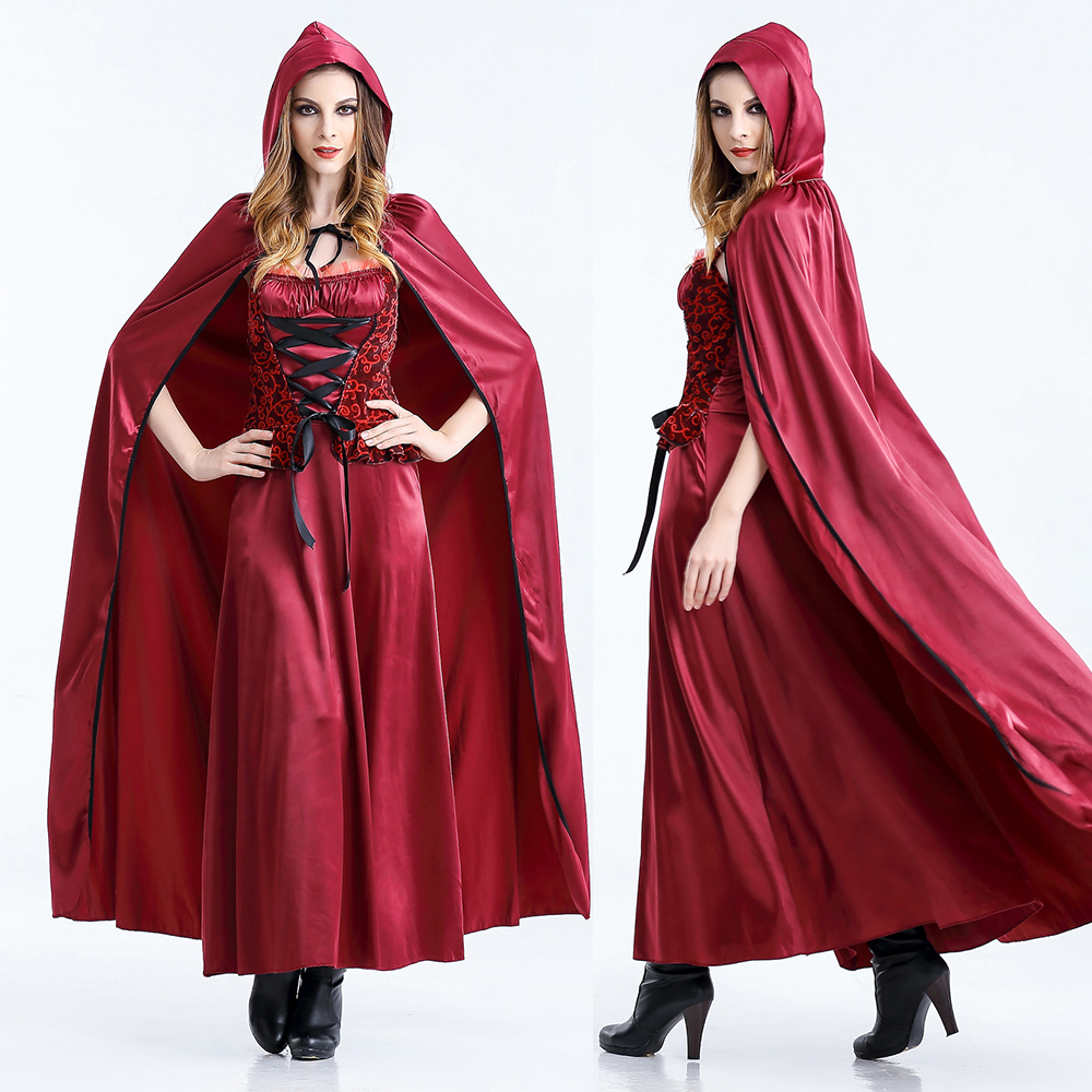 2018 New Sexy Little Red Riding Hood long dress with cape Party adult cosplay costume for Women girl whole set