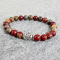 Retail New Design Yoga Jewelry Picasso Jasper Stone Bead Bracelets Silver Buddha Elastic Bracelets for Men and Women's Gift