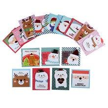 16 карт+ 16 конверт/партия милый мультфильм Маленький Санта-Клаус Снеговик веселый рождественский открытка, поздравительная открытка Подарочная карта рождественские открытки
