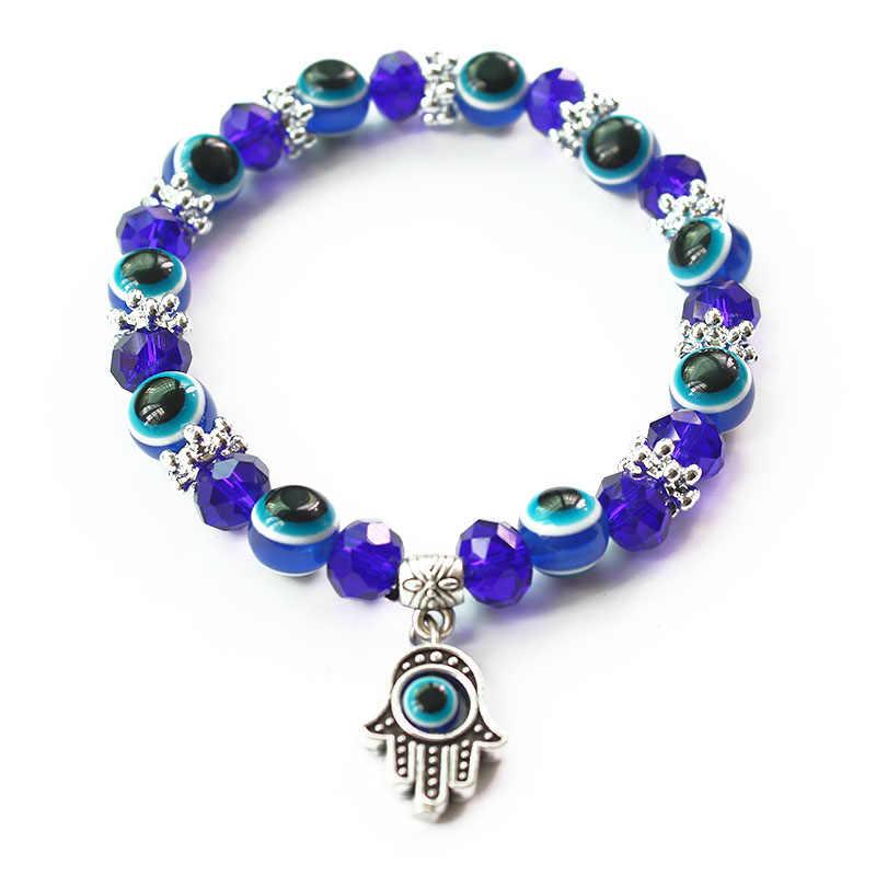 ISINYEE ファッションヴィンテージハムサチャーム女性ガールブルートルコ邪眼ビーズブレスレット手のファティマの宝石