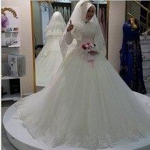Elegant White High Neck Long Sleeve Muslim Wedding Dress Ball Gown Lace Edge Islamic Wedding Gowns