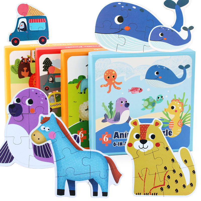 Jucarii pentru copii Cartoon Animal Paper Copii Puzzle Copii devreme de învățare Montessori educație jucării Puzzle pentru copii de 3 ani