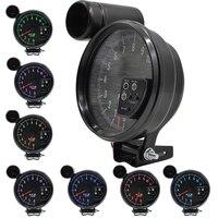 tacometro digital 5 Inch Stepper motor Car Auto Tachometer Boat Gauge Warning light background 7 color backlight rpm meter