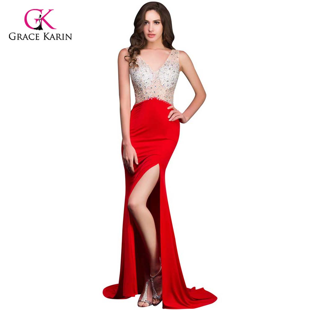 2018 Grace Karin Women hot Long Red Mermaid Prom Dresses under 50 Open Back rhinestone Sexy