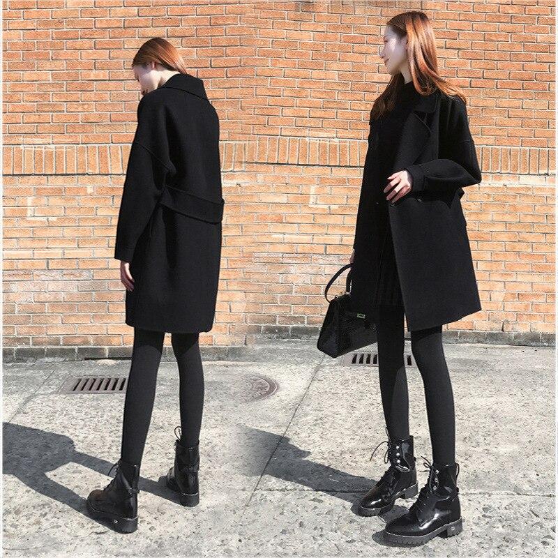 High Quality Autumn Winter Jacket Women Black Overcoat Wool Coat Suits Plus Size Long Black Slim Blend Clothes Outerwear