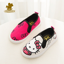 Autumn New Children Cartoon Canvas Shoes Spring Boys Girls Hello Kitty Flats Sneakers 4 Designers Kids Breathable Shoes 21-36