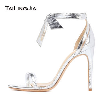 Elegant Open Toe Metallic Silver High Heel Sandals Transparent PVC Heeled Shoes Ladies Summer Strappy Evening Dress Heels 2020