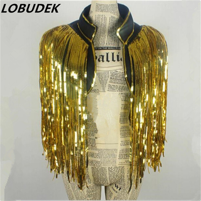 gold coat tassels jacket coat Waistcoat DS costumes dance Christmas singer stage outfit Sequin vest over performance bar party