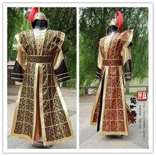 زي تانغ البدلة الصينية الجنرالات درع الجنود الملابس موضوع زي المسرح الملابس المرحلة زي