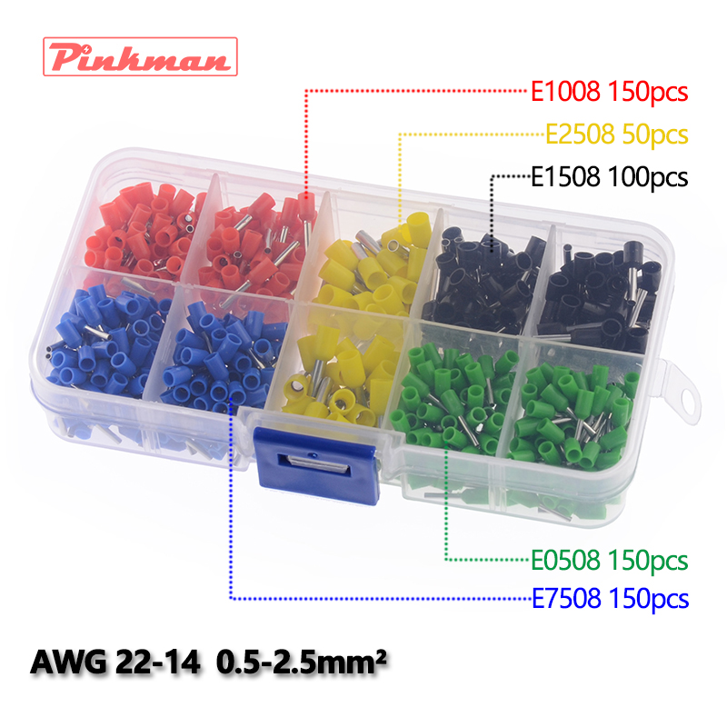 600pcs/lot E0508 E7508 E1008 E1508 E2508 cooper Ferrules kit set Wire Copper Crimp Connector Insulated Cord Pin End Terminal 100pcs lot e7508 bootlace cooper ferrules kit set wire copper crimp connector insulated cord pin end terminal