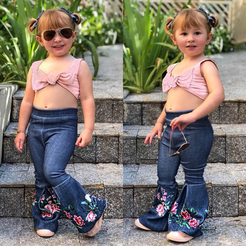 9d66e12f64520 US $2.82 31% OFF|MUQGEW 2019 Hot Sale Children Toddler Kids Baby Girls  Flare Pants Floral Bell bottoms Clothes Pants Dropshipping Baby Clothes-in  ...