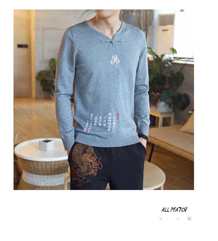 Chinese style Buddha embroidery Pull Homme Pullover Men spring autumn Casual sweater knit leisure Jersey Hombre Cotton v-neck 74