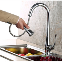 Nickel brushed kitchen faucet mixer with pullout spout single lever basin sink mixer taps Dona1176