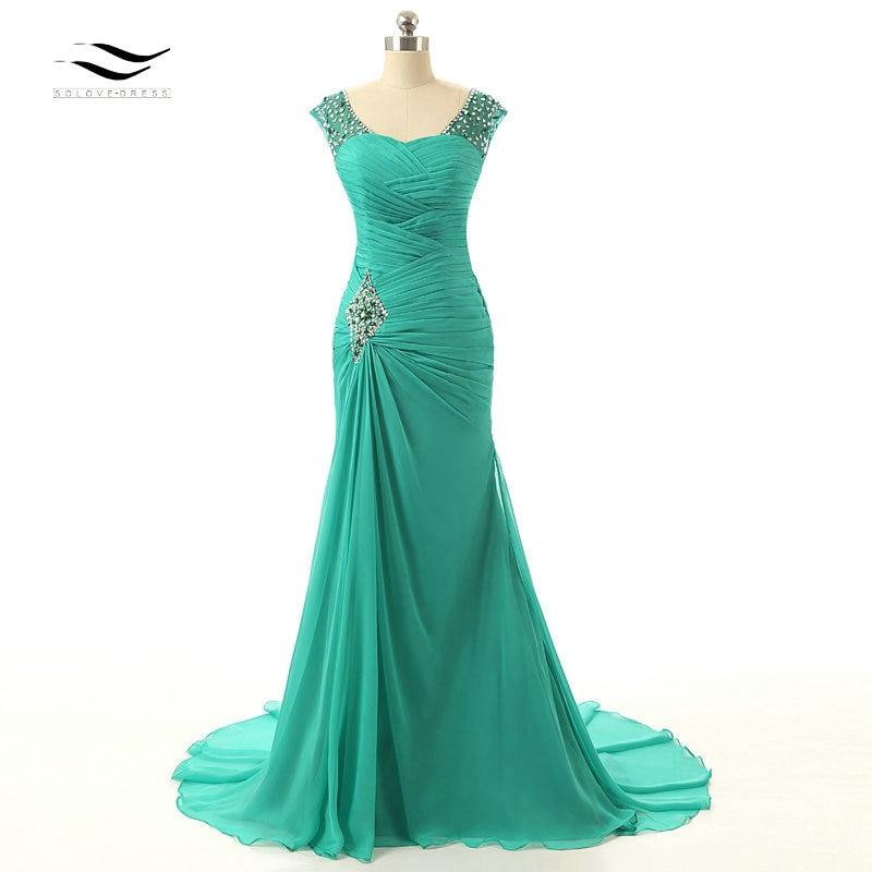 Solovedress Elegant Cheap Green Long Evening Dress 2019 Beads Formal Mother Of the Bride Dress vestido