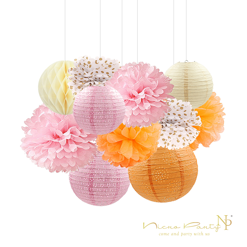 Nicro 11Pcs/set Pink&Orange Tissue Paper Flower Paper Lantern Honeycomb for Birthday Party Wedding & Engagement Childrens Day Nicro 11Pcs/set Pink&Orange Tissue Paper Flower Paper Lantern Honeycomb for Birthday Party Wedding & Engagement Childrens Day