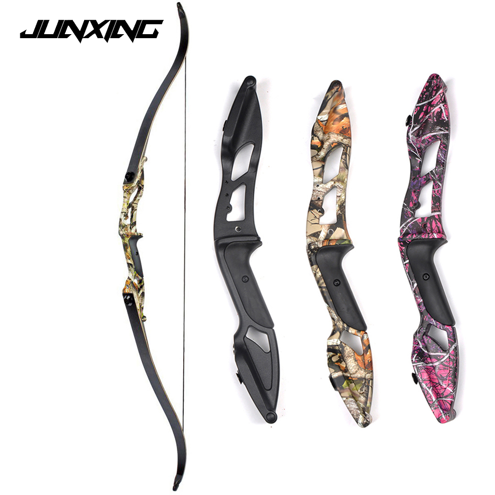 30-50 lbs Metal Riser Recurve Bow 56 inch American Hunting Bow Traditional Long Bow Hunting Archery in Black/Camo/Red Color