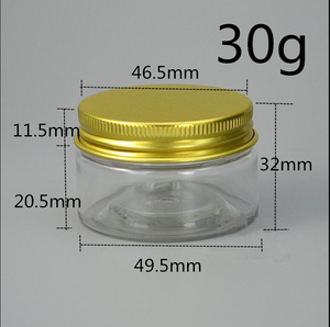 Image 2 - Free Shipping 30 pcs  40 50 80 g/ml Empty canister clear Plastic jars For Spices Cream Storage Sample gold lid Containers