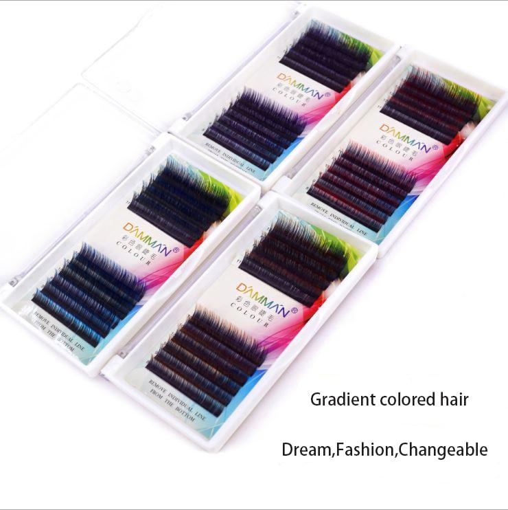 DAMMAN Grafting False Eyelash Gradient Colored Hair Eyelash Blend Length 8~13mm Extremetely Soft lashes Natural Curl Fashionable