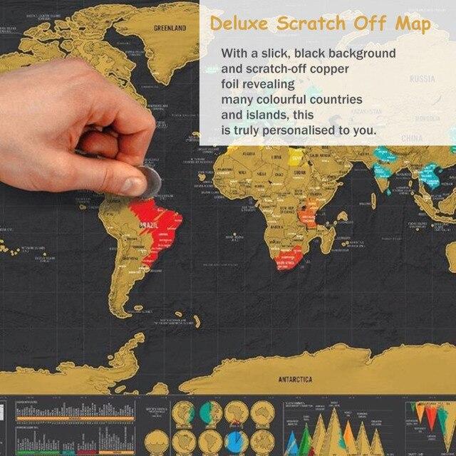 IZTOSS 1pcs Travel world Off Map Deluxe Foil Layer Coating Poster