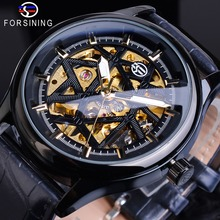 Forsining Mens New Luxury Black Skeleton Leather Watch Steampunk Hand Wind Mechanical Stainless Steel Wrist Watches Montre Homme стоимость