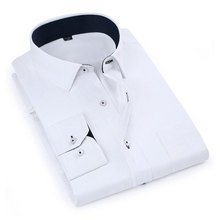 New Men s Solid Long Sleeved Dress Shirts Twill Fashion With Pocket Formal Business Work Classic