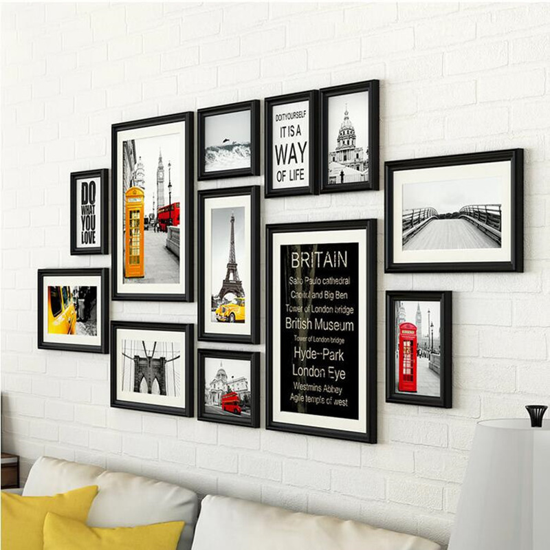 Europe Style 12pcs Set Photo Frame Wall Decoration Quality Rectangle Hanging Picture Frames For Living Room Wood Marco Fotos Aliexpress