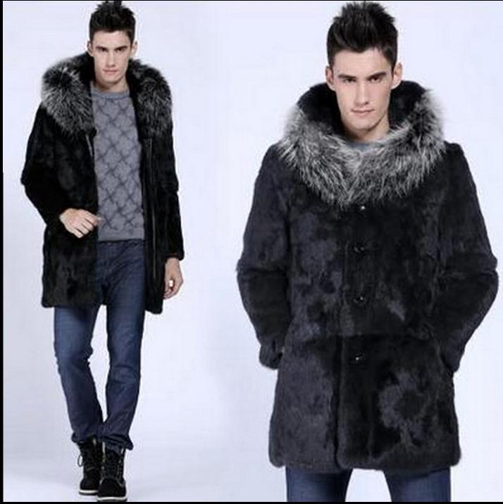 Single Breasted Winter Long Herre Hooded Overcoats Faux Fur Jackets - Herretøj - Foto 5