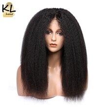 Parrucche per capelli umani in pizzo pieno con Base in seta KL con capelli per bambini parrucche brasiliane diritte crespi nere naturali per capelli Remy