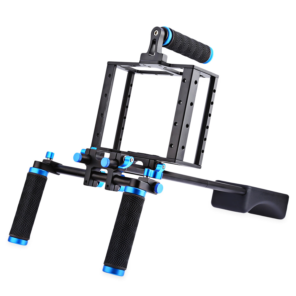WEIHE Aluminum Alloy Camera Video Cage Shoulder Mount Rig Kit for Canon 5D II aluminum dslr camera cage kit support for canon 5d mark ii 7d 60d 15mm rod rig
