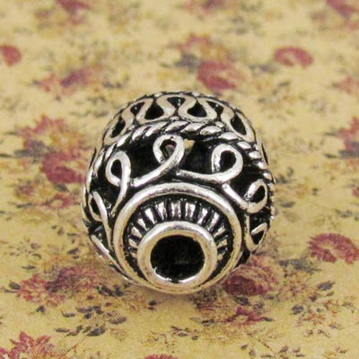 10x 14*20mm Tibet Vintage Cast Filligree Beads Antique Silver Hollow Loose Beads For Diy Jewelry Making Accessories