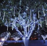 Thrisdar 2 STÜCKE LED Meteorschauer Regen Lichter 30 CM 50LED 8 rohr Fallen Regen Tropfen Eiszapfen Schnee Herbst Fairy String Weihnachten girlande
