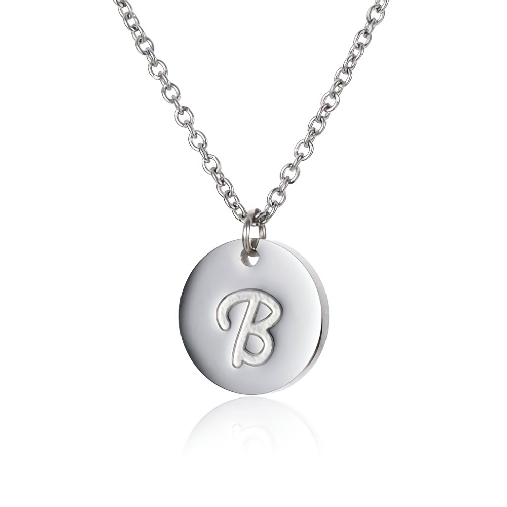 AOLOSHOW Simple Dainty Initials Necklace Women Stainless Steel Disc Letters Personalized Charms Pendant Letter Necklace NL2600