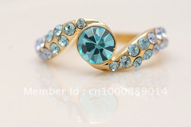 Min. Order is 10USD,Can Mixed Order! Retail/Wholesale 9k Solid Yellow Gold GF Rings,Free Shipping,Blue topaz,Da28,size 10