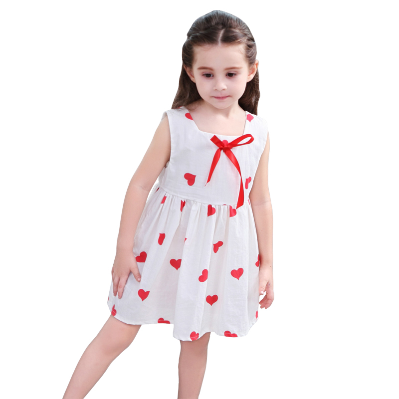 2-10 Yrs White Heart pattern a-line dresses for girl 2018 new summer Korea  cotton sleeveless Bow Princess dress Kids Clothes baby clothes summer newborn boy girl clothes set baby fashion infant baby brand products clothing bebe body bebe md170x023