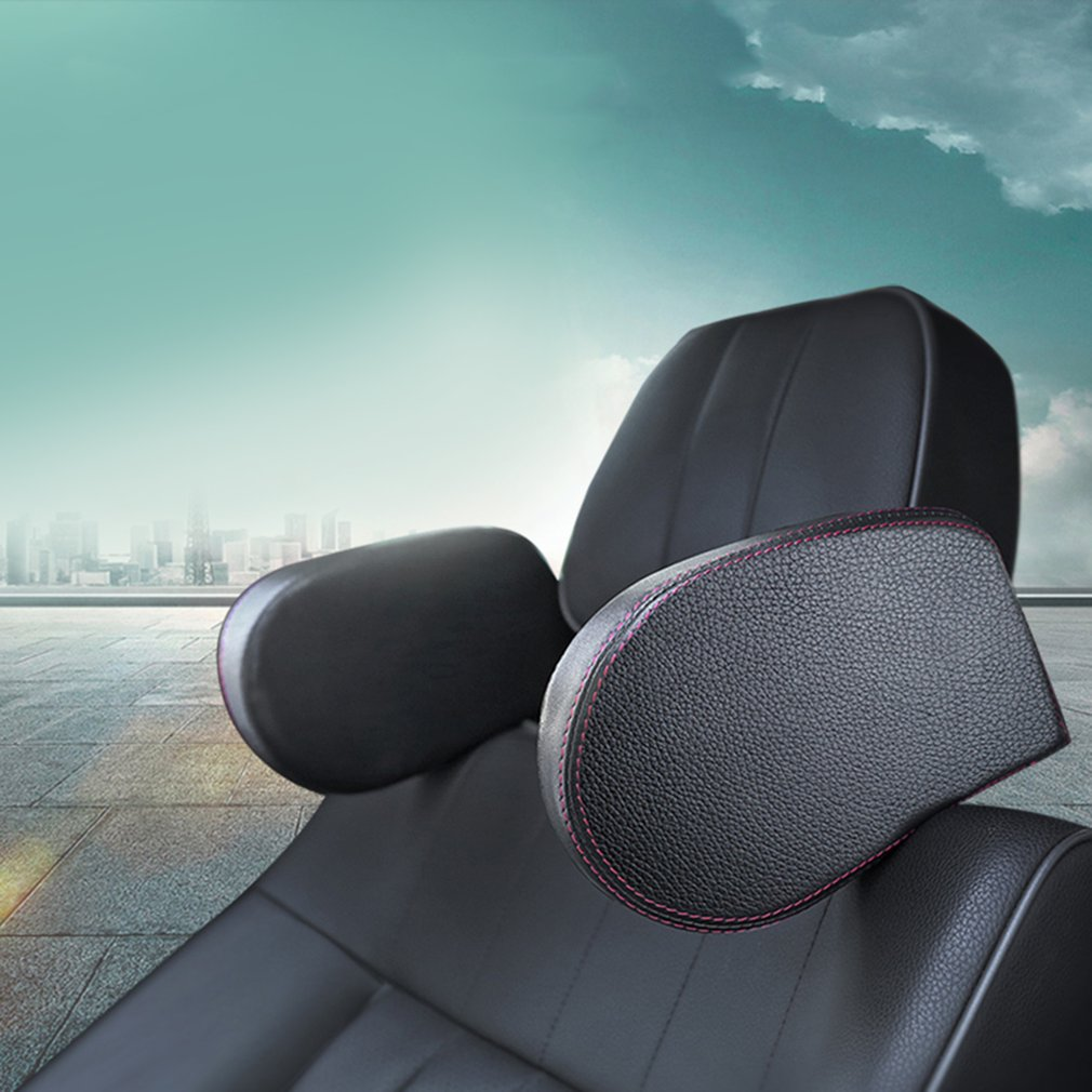 Car Styling Headrest Car Seat Head and Neck Support Pillow Leather Neck Shoulder Pillow Cushion for Sleeping Car Accessories
