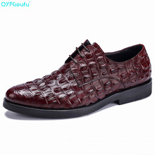 QYFCIOUFU Fashion Men's Shoes With A Round Toe Crocodile Pattern Dress Shoes Genuine Leather Quality Cow Leather Party Shoe