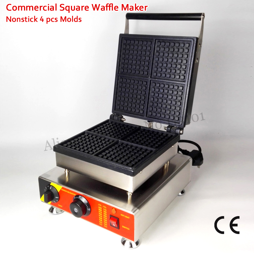 Commercial Belgian Square Waffle Maker Nonstick Cake Machine 4 Molds 110V/220V 1500W CE Approval atlas 72ач mf90d26r пр