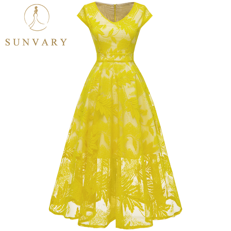 Hot Sale Sunvary Elegant Lace Cocktail Dresses For Women Knee Length