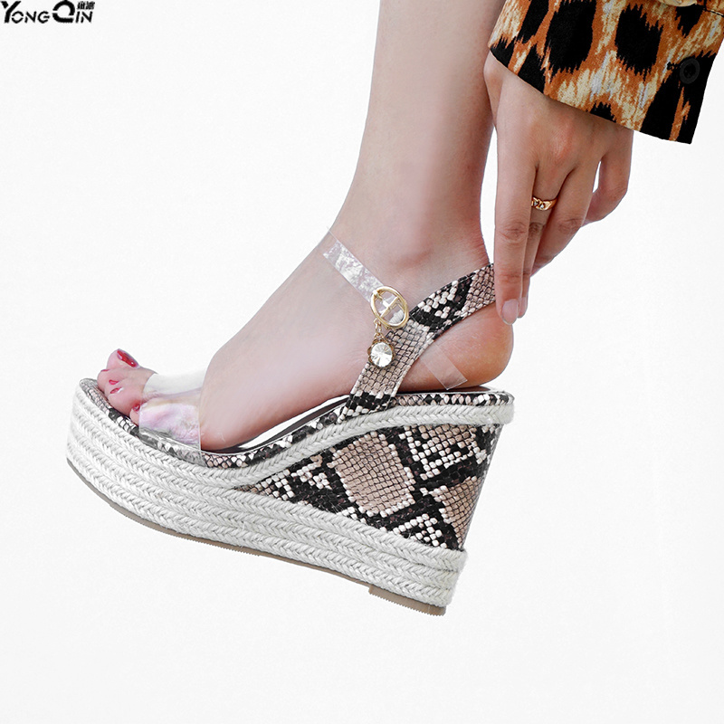 Thick bottom wedge sandals 2019 summer new European style sexy open toe snake pattern women's shoes