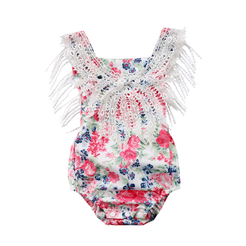 New Fashion Newborn Toddler Baby Girls Clothes Lace Floral Princess Romper O-Neck Clothes Outfits