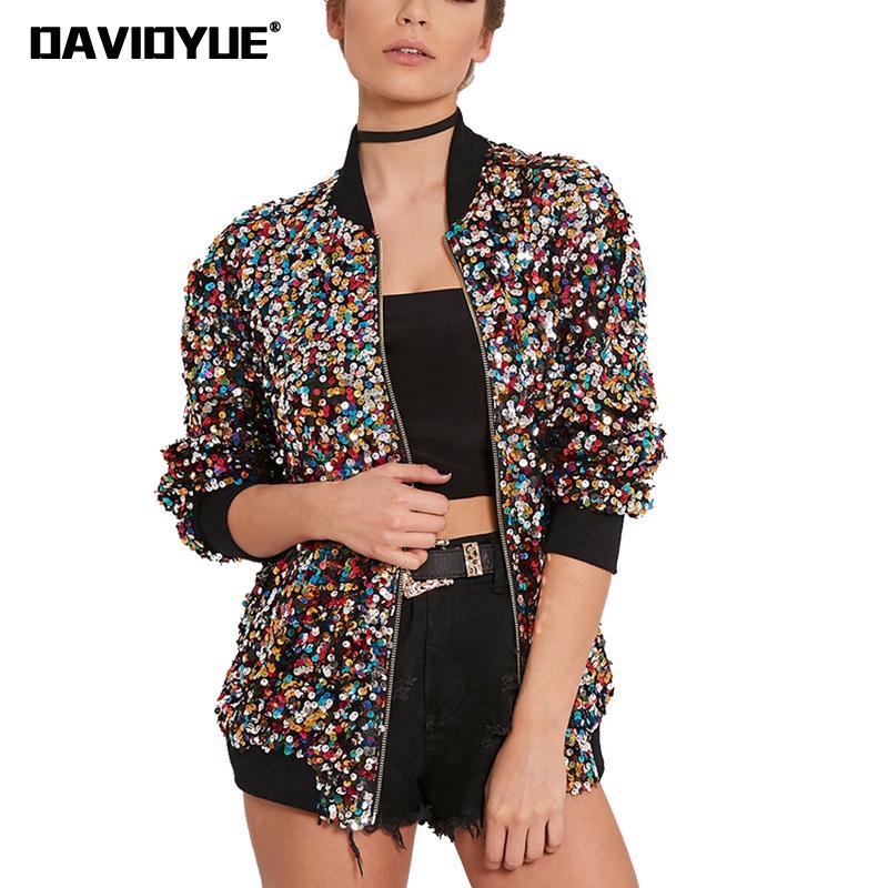 2018 Spring Shiny sequin bomber   jacket   women   basic   coats Fashion Punk Long Sleeve Zipper baseball outwear winter ladies   jacket