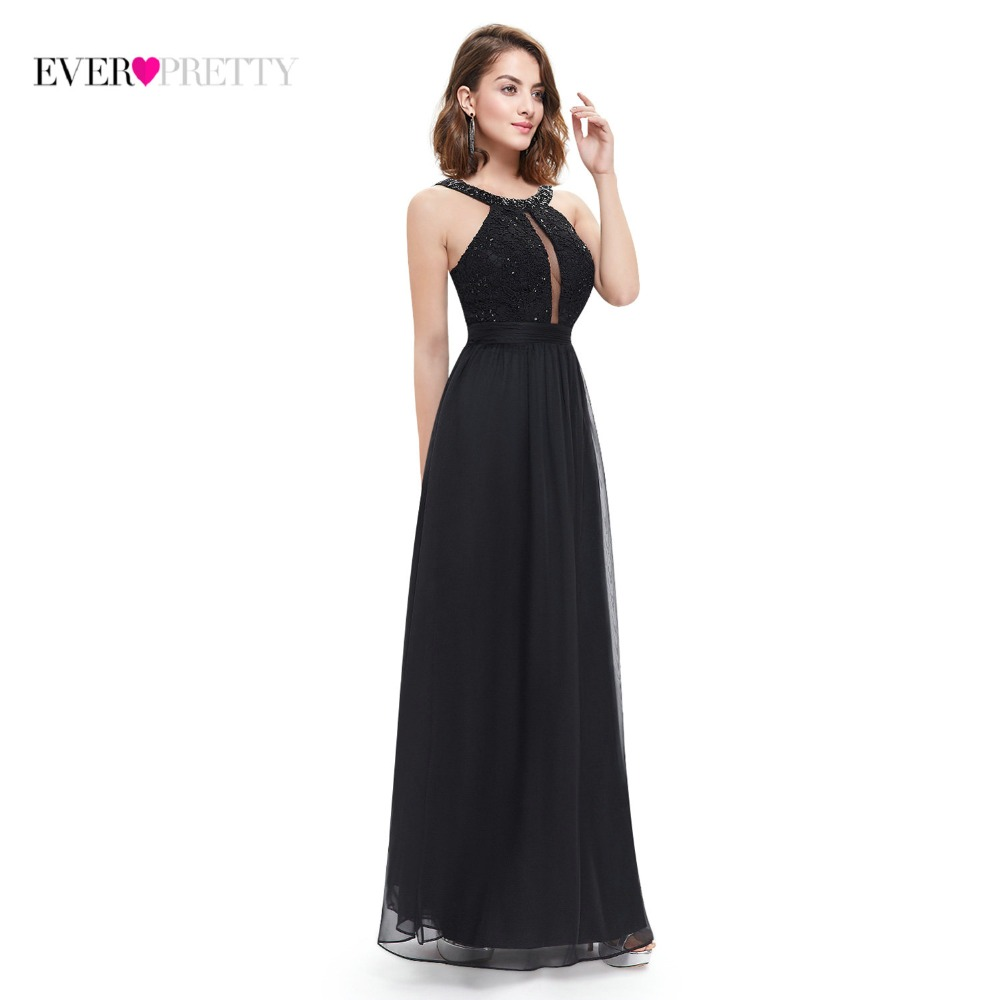 Fast Shipping Black Evening Dresses 2018 Ever Pretty EP08572BK O-neck Spaghetti Straps Floor Length Party Dress Lace Appliques