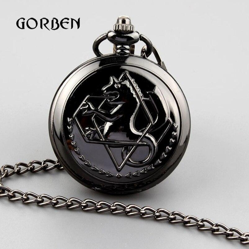 Antique Black Horse Quartz Pocket Watch Necklace Pendant Chain Full Metal Alchemist Quartz Pocket Fob Watches Relogio De Bolso