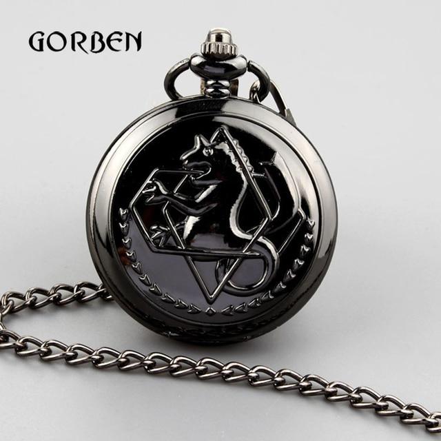 Antique Black Horse Quartz Pocket Watch Necklace Pendant Chain Full Metal Alchem