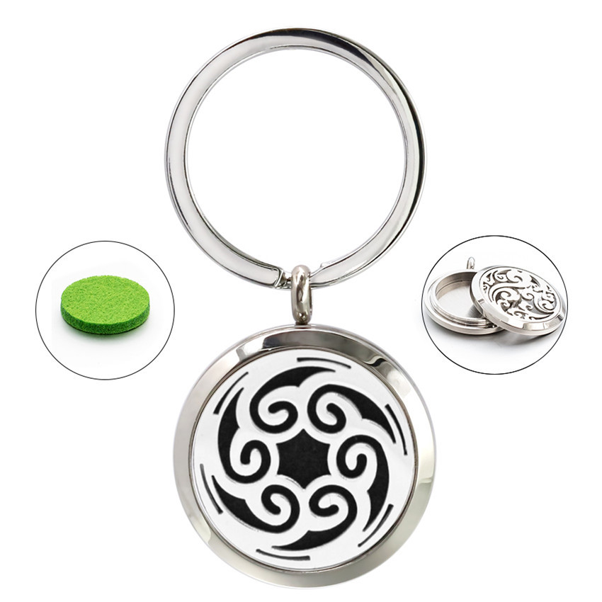 My Cloud Twist Screw 30mm Stainless Steel Key Ring Keychain Essential Oil Aroma Perfume Diffuser Locket Keyrings 10 Pads