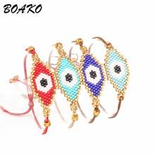 BOAKO Turkish Lucky Evil Eye Bracelet for Women Thread Rope Bracelets & Bangles Couple Bileklik Summer Jewelry Pulseras
