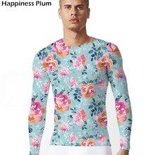 KYKU Brand Pink Flower Shirts Long Sleeve T shirt Men 3d Print Tshirt  Summer Hip Hop T-Shirt Casual Clothing 2018 casual flower print long sleeve shirt