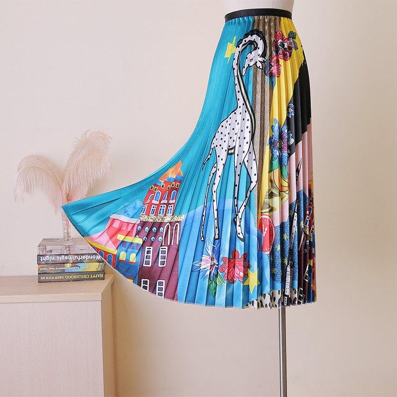 Europe Fashion Designer Spring Summer Women Skirts 2019 Elegant Ladies High Waist Cartoon Print Pleated Mid