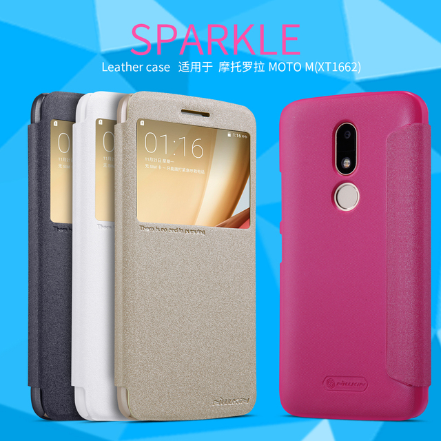 big sale ea4fe 5b5fb US $8.99 10% OFF|Nillkin Sparkle Luxury PU Leather Case for Motorola Moto M  XT1662 XT1663 Flip Cover for Moto M Cases Hard Plastic Back Cover-in Flip  ...